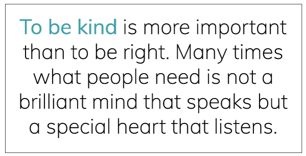 To be kind...